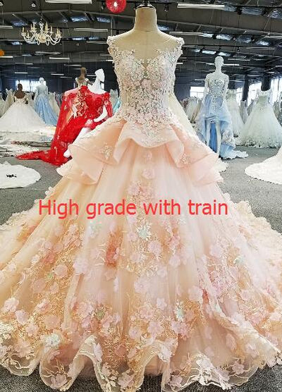 CG96 Sleeveless  flower beading see through back Prom ball gown
