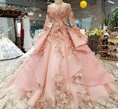 CG88 Luxury Muslim pink high neck Evening Gown