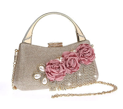CB77 Flower Diamond Tassels Day Clutch Bags( 6 Colors)
