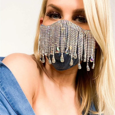 BJ347 : 2 styles of diamond Tassel Jewelry Mask