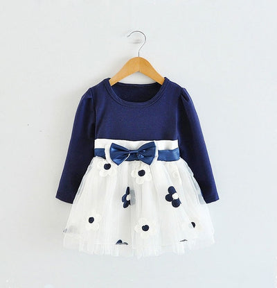 FG111 Long Sleeve Baby Girls Dresses for 0-2 years (3Colors)