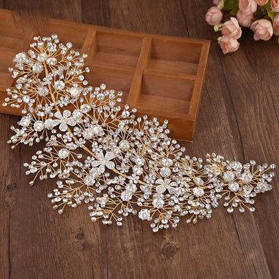 BJ79 Luxury vintage diamond Vine Bridal Hair Jewelry (Silver/Gold)
