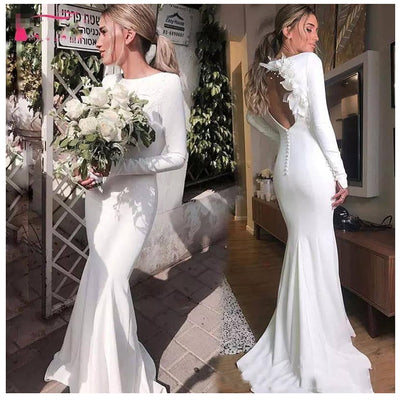 Simple Long Sleeves Open Back with 3D Flowers Wedding Gowns