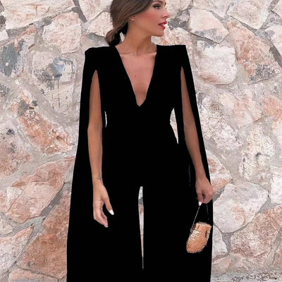 JR75 Deep V Bodysuits Chiffon Jumpsuit