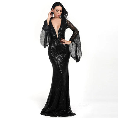 MX213 Deep V Long Flare Sleeve Maxi Dresses(Black/Gold)
