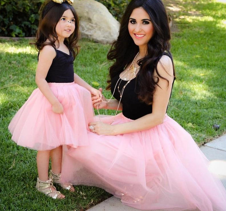 7a3bf0746b7f Home / Mini me Outfits · Pink Patchwork Mesh Mom and Daughter Matching Dress