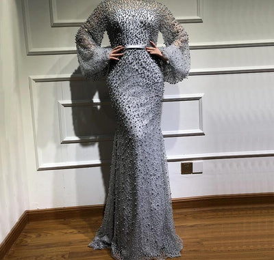 Muslim Long Sleeve Grey full pearls Beaded Mermaid Evening Gown