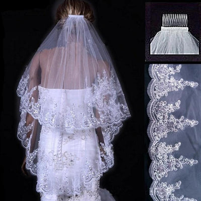 BV24 Two Layers Applique Edge Bridal Veils
