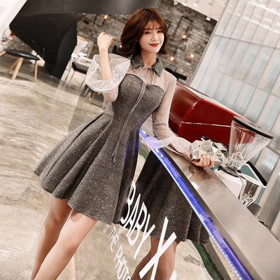 BH164 Korean style mesh sleeve Homecoming Dresses (Black/White/Silver)