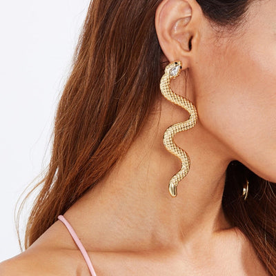 BJ88 Fashion Snake shaped Stud Earrings(Gold/Silver)