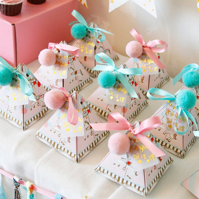 30pcs Triangular cartoon Party candy Boxes(Blue/Pink)