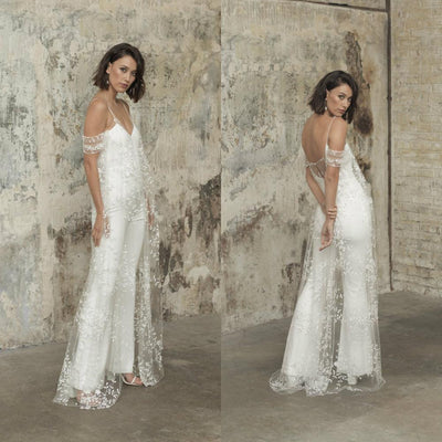 PD34 : Spaghetti Straps Wedding Jumpsuit with lace Jacket