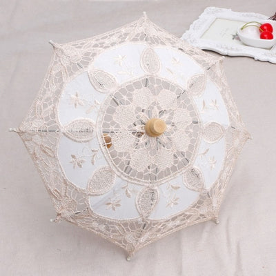 Lace umbrella newborn baby Photography Props(White/beige)