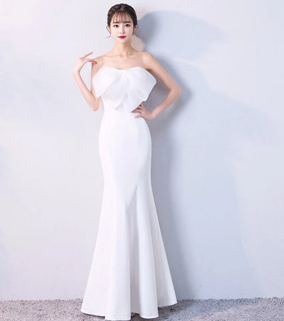 BH153 White strapless Big Bow Homecoming Dress