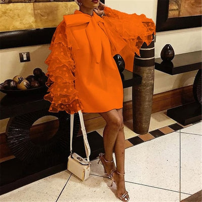 MX181 Plus size vintage ruffle long sleeve Mini Dresses (Orange/White)