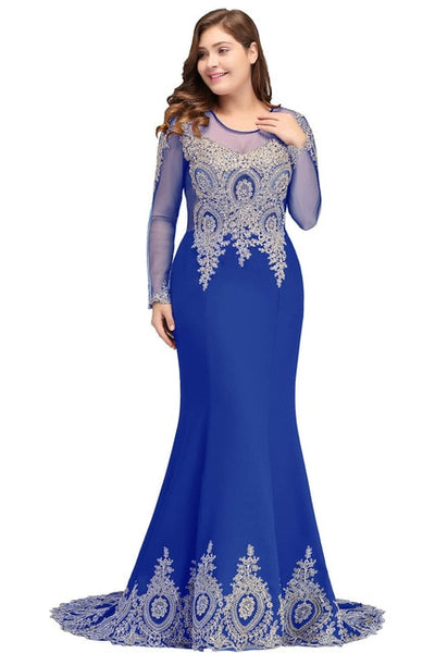 PP290 Plus Size gold embroidery mermaid Evening Dresses(6 Colors)