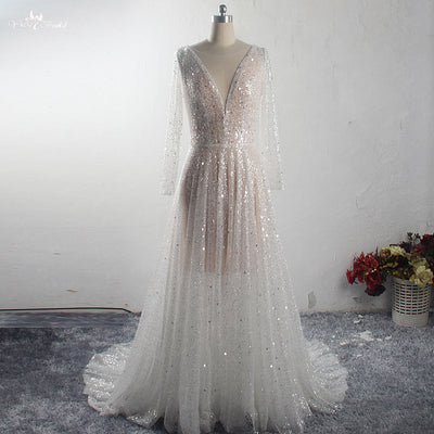 Luxury Beads Sequin Wedding Dresses with Illusion Long Sleeves