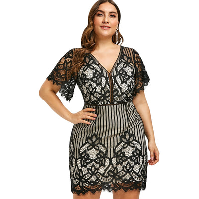 MX170 Plus size lace v-neck high waist Bodycon Dress