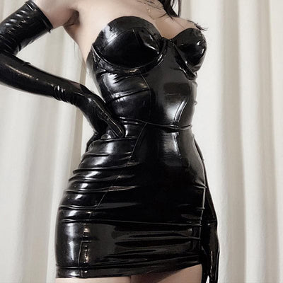 MX177 Sexy Gothic Strapless Reflective Leather Bodycon Dress
