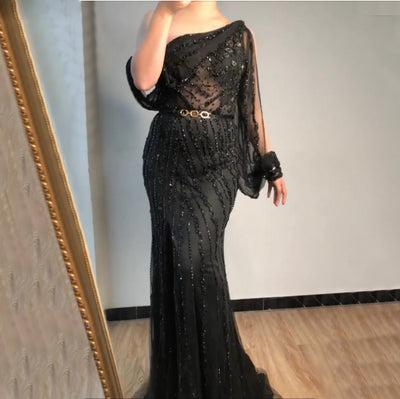 LG219 High quality one shoulder Evening Gowns (4 Colors)