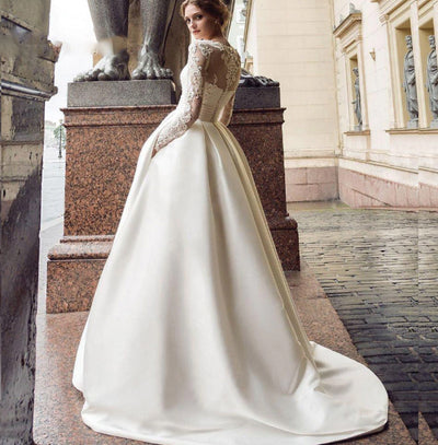 CW47 Long sleeves satin wedding dress with pockets