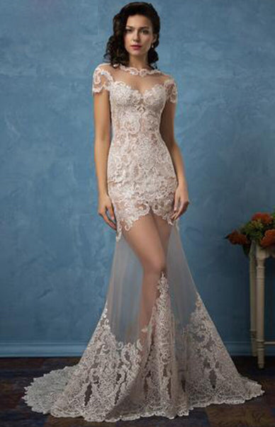 CW48 :2in1 wedding dress with detachable skirt