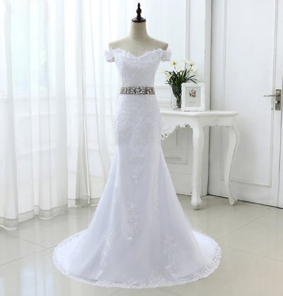 CW52 Real photo plus size mermaid wedding dress with belt