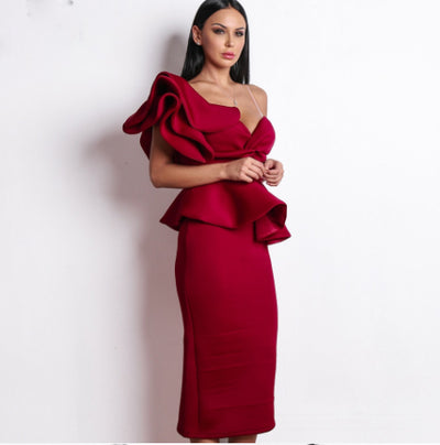 PP299 One shoulder ruffle Cocktail dresses (5 Colors)