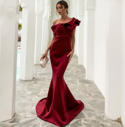 PP303 One Shoulder Ruffles Prom Dresses(Red/Burgundy)