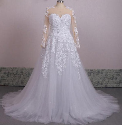 CW107 Plus size Long sleeves beading A-line Bridal dresses