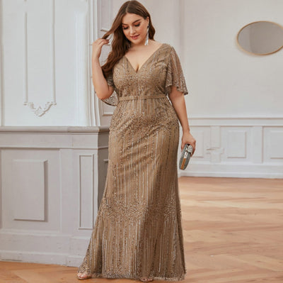 PP232 Plus Size Sparkle Prom Dresses(9 Colors)