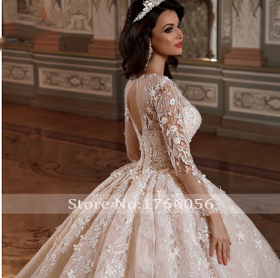 Luxury Long Sleeves Flowers Lace Ball Gown Wedding Dresses