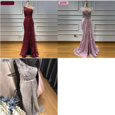 Handmade one-shoulder flowers pearls Evening Gowns(4 Colors)