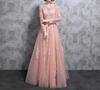 BH25 Muslim Long sleeve tulle Bridesmaid Dresses