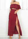 MX01 Vintage Off Shoulder Red Dot  Maxi Dresses