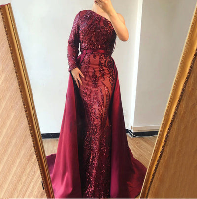 One shoulder long sleeve sequined Evening Dresses(Green/Wine red)