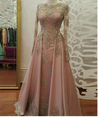 Muslim long Sleeve Lace Applique Prom Dress with over skirt