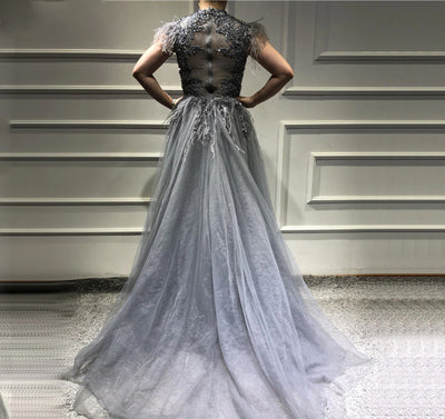 Luxury tulle feathers Evening Gown (Grey/Pink)