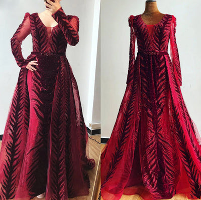 Luxury Arabic velvet Sequined Evening Gowns (3 colors)