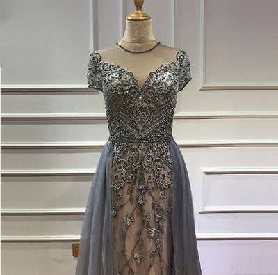 Handmade Crystals beaded Evening Gowns (2 Colors)
