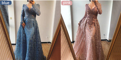 Luxury Arabic Evening Gowns with overskirt (7 colors)