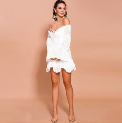 MX250 Sexy Lace Off Shoulder Lantern Sleeve Mini Dress