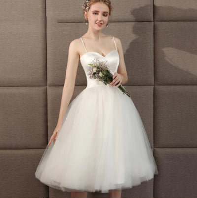 SS104 Real Photo simple short wedding dress