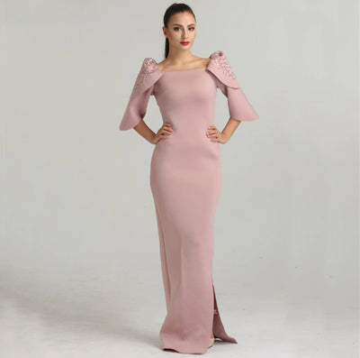 Dubai Style Pink 3/4 Sleeve mermaid Evening Dresses