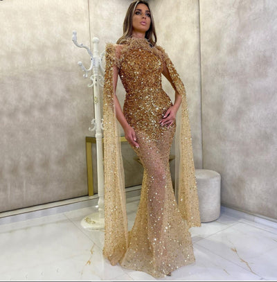 Luxury Gold beaded Pageant Gowns