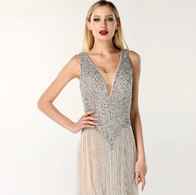 Luxury Deep-V Sequined Beading Tassel Evening Dress