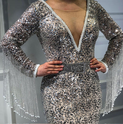 LG185 Luxury Silver V-Neck Tassel Beading Evening Dress