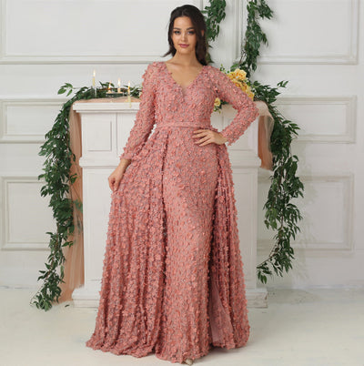 LG187 Blush Pink long sleeves flowers Evening Dress with overskirt