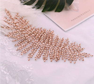 BJ108 Handmade rhinestone feather shape Bridal hair Jewelry