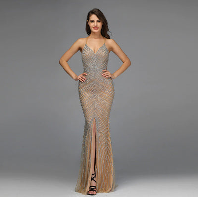 2 styles luxury gold full diamond beading Pageant gowns